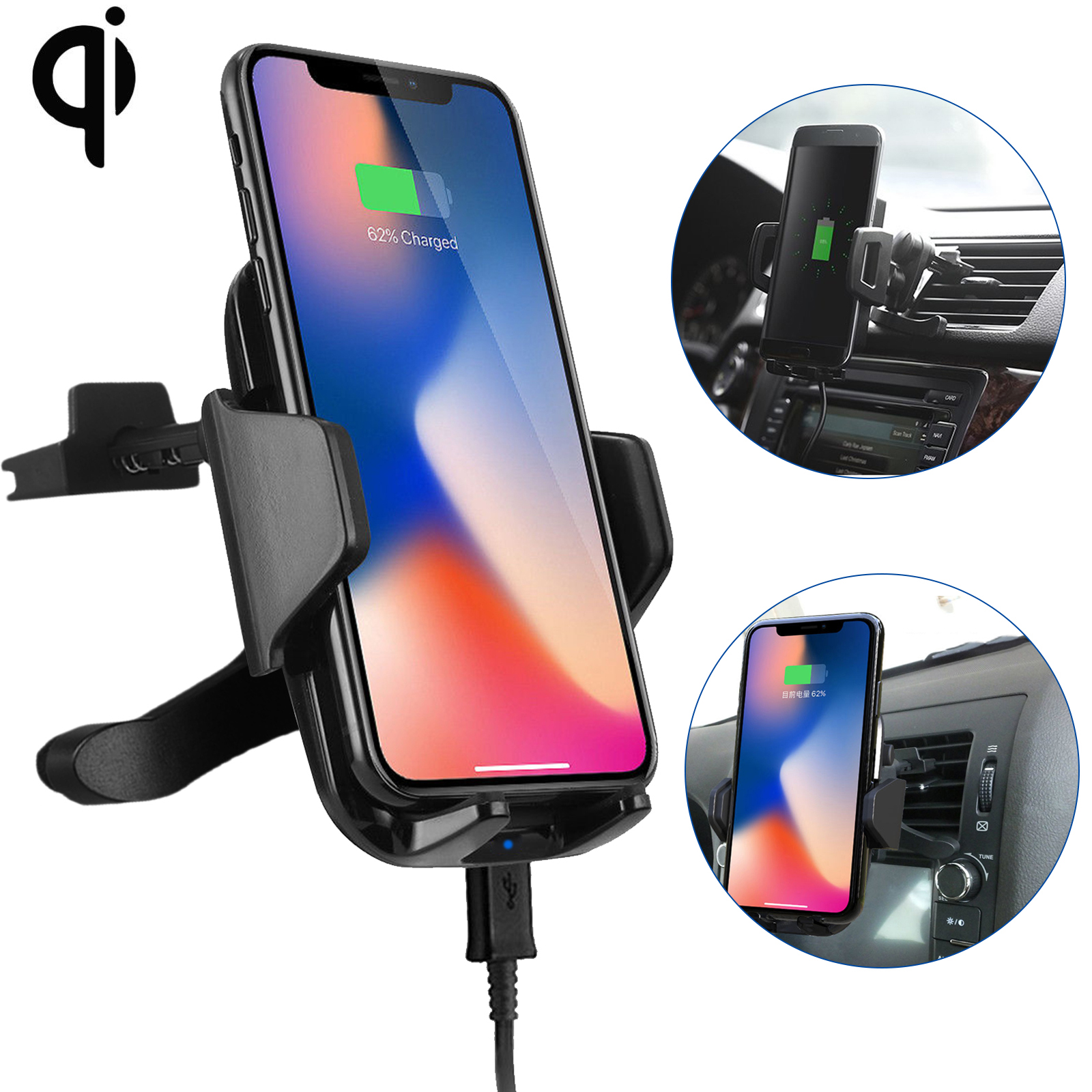 qi wireless car fast charger phone mount holder for iphone. Black Bedroom Furniture Sets. Home Design Ideas