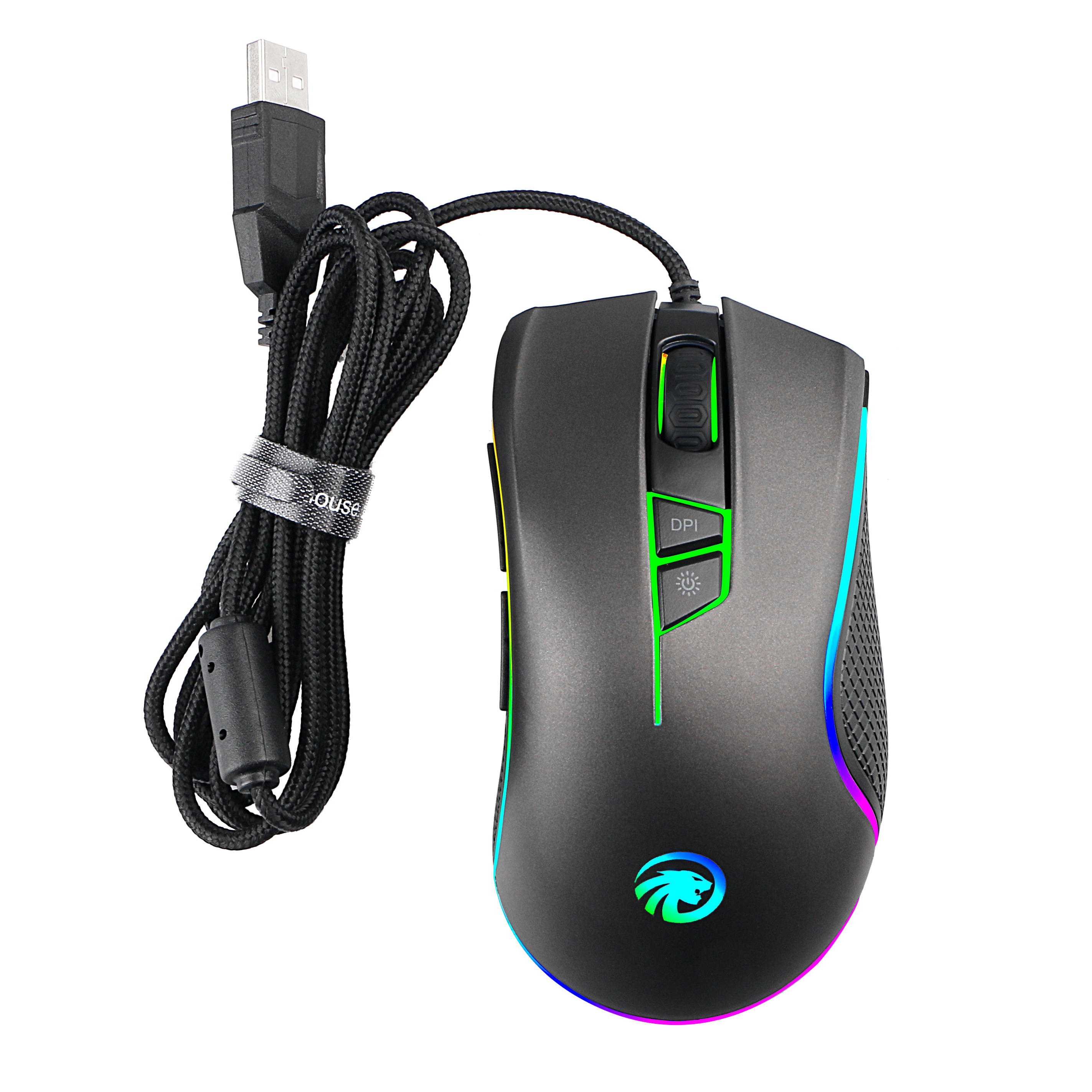 F300 4000DPI RGB Backlit Programmable Gaming Mouse Optical Wired ...