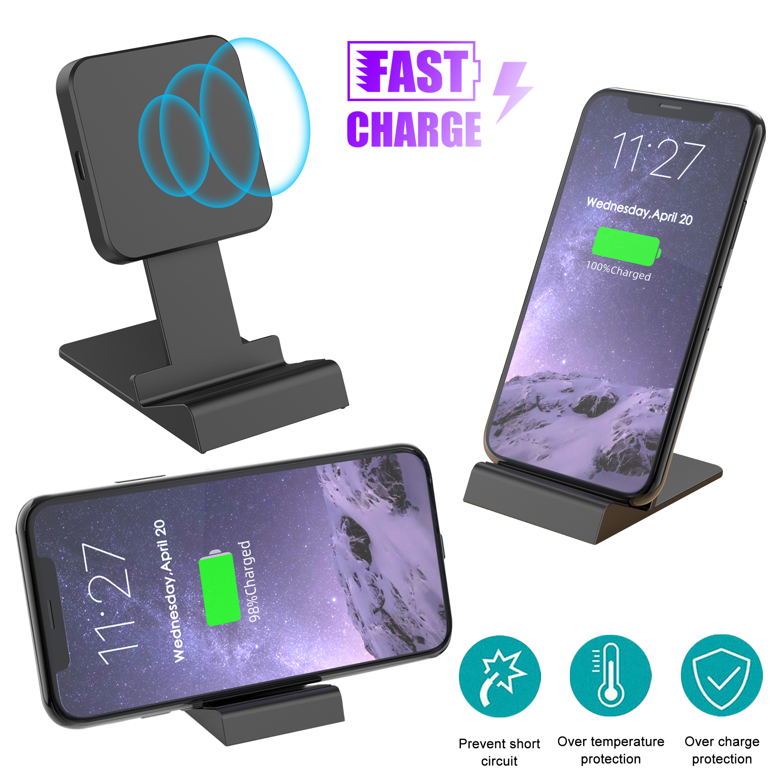 Wireless Qi Charger Dock Stand Fast Charging Cell Phone Stat