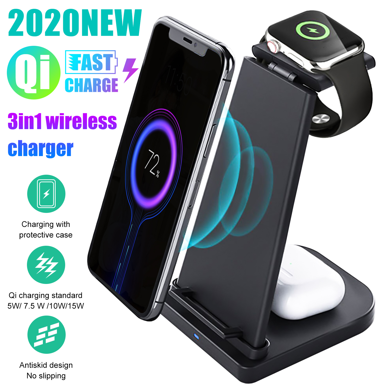 3in1 Wireless Fast Charging Dock Station Charger Stand For A