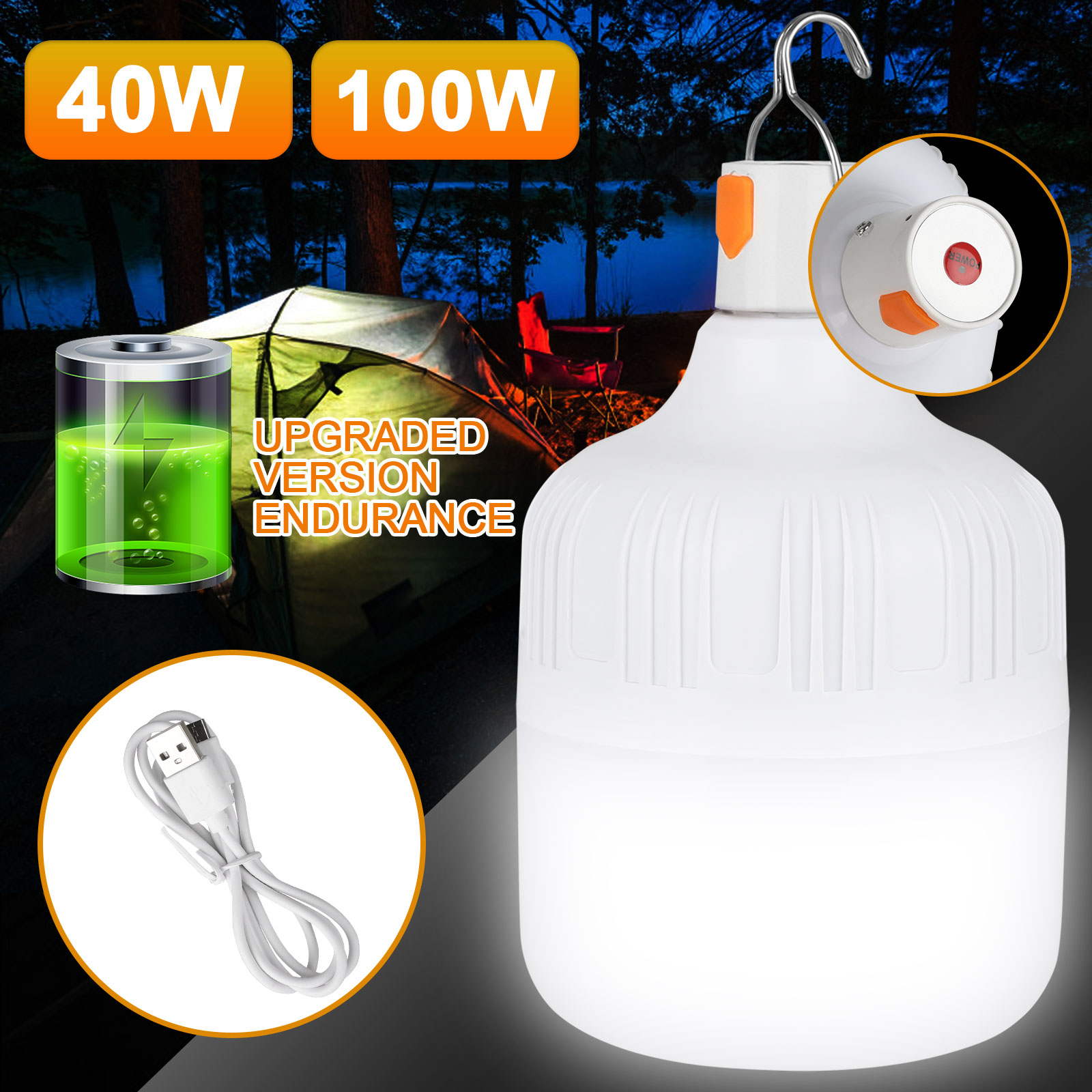 100W/40W LED Camping Light USB Rechargeable Outdoor Tent Lan