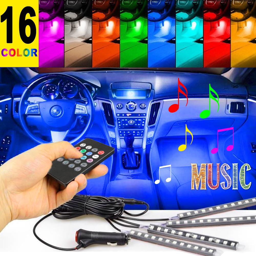 4PCS 48 LED Car Interior Atmosphere Neon Lights Strip Music Control + IR Remote