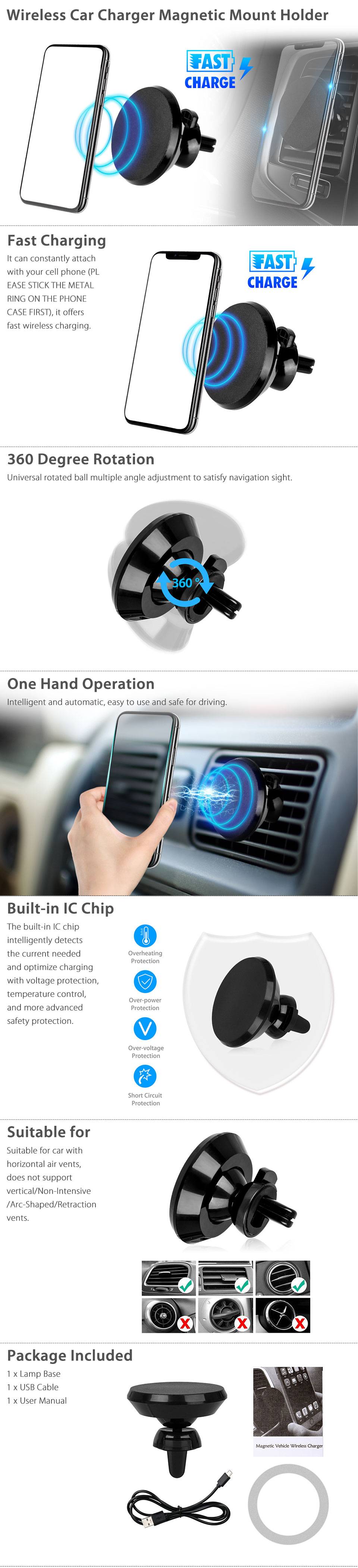 b5100ee5b27 Magnetic QI Wireless Fast Charger Car Mount Holder Stand For iPhone ...