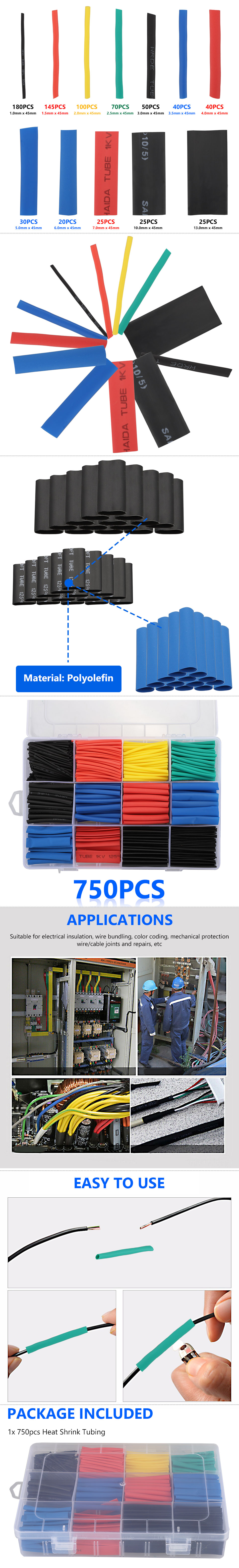 750x Assortment 2:1 Heat Shrink Wire Wrap Tubing Electrical Connection Cable Set