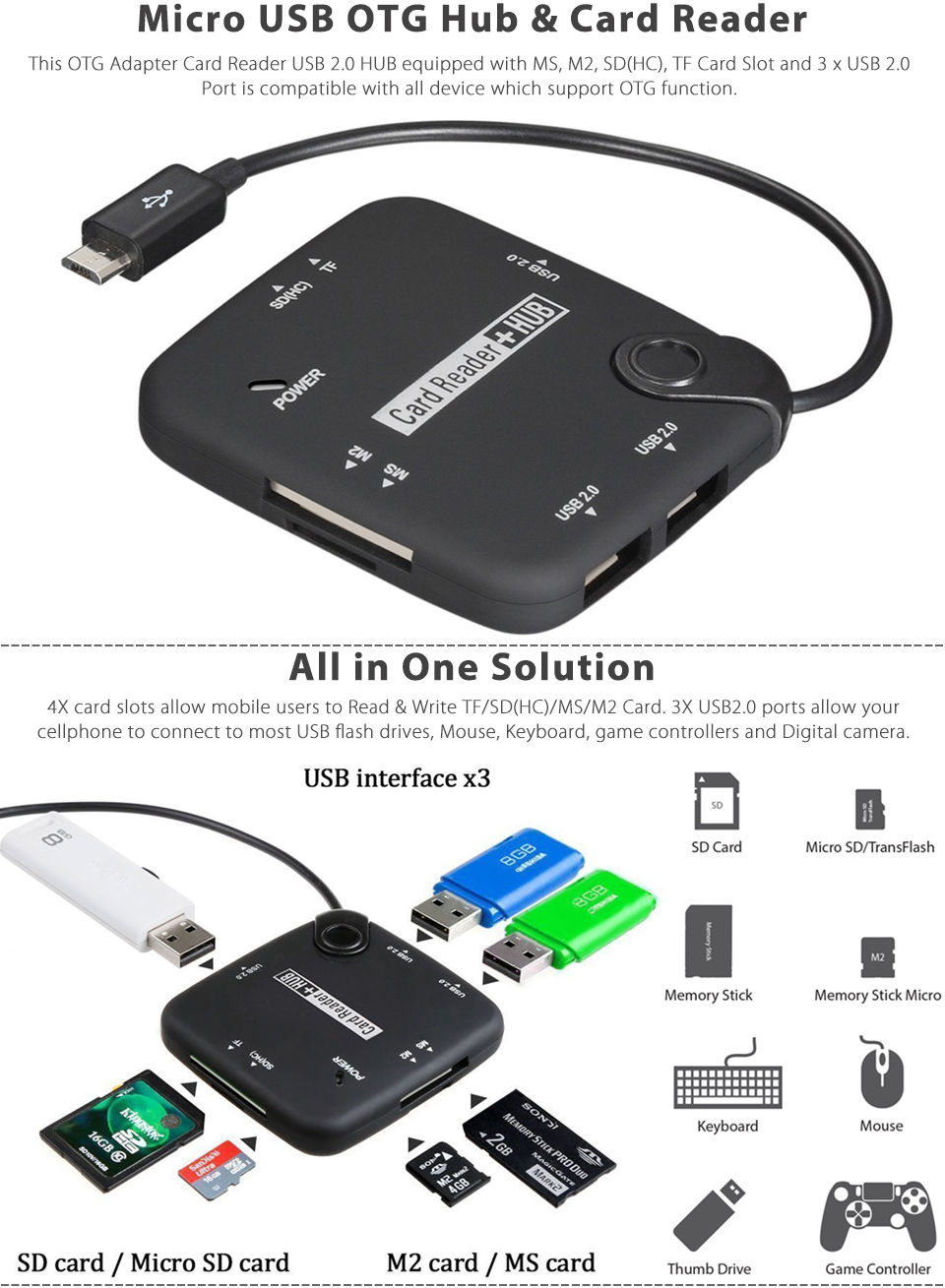 Micro USB Host Adapter OTG Cable Hub SDHC SD TF MS M2 Card Reader for Smartphone | eBay