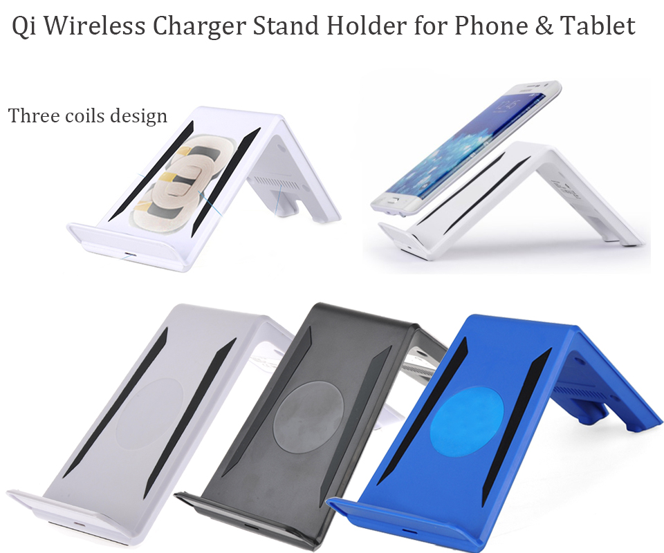 3 coils qi wireless charger charging pad stand holder for smartphone and tablet. Black Bedroom Furniture Sets. Home Design Ideas