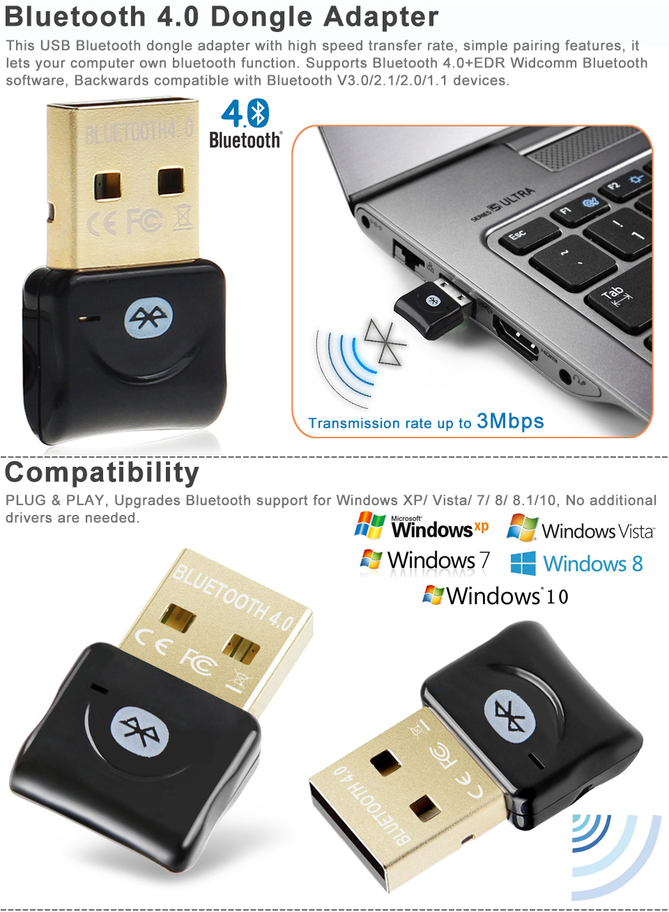 mini usb csr bluetooth 4 0 dongle adapter for pc laptop. Black Bedroom Furniture Sets. Home Design Ideas