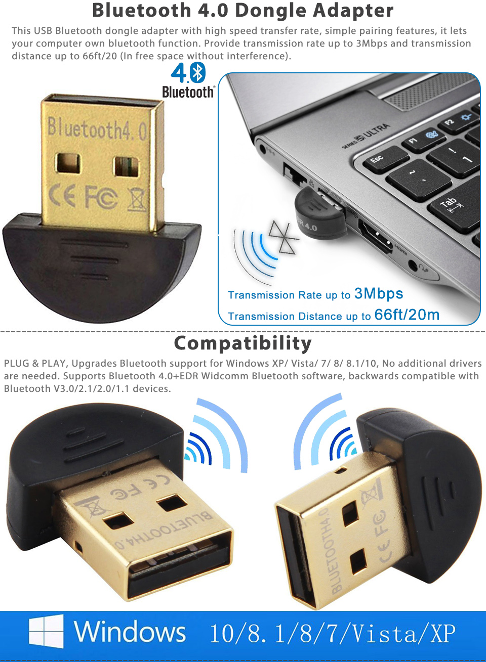 mini bluetooth 4 0 usb csr4 0 dongle adapter for pc laptop. Black Bedroom Furniture Sets. Home Design Ideas